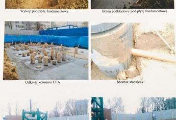 Prace ziemne, wykonanie fundamentów, garażu podziemnego oraz I kondygnacja budynku.