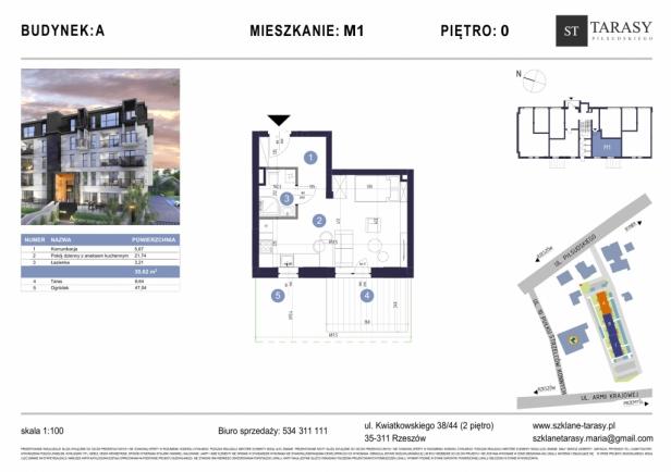 TARASY PIŁSUDSKIEGO M1 - mieszkanie 1 pokojowe Budynek A