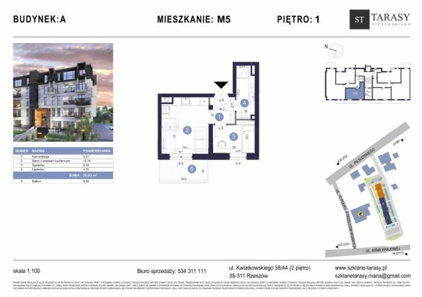 TARASY PIŁSUDSKIEGO M5 - mieszkanie 2 pokojowe Budynek A