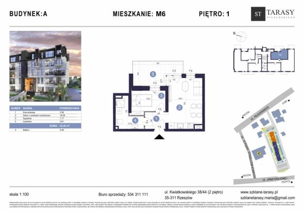 TARASY PIŁSUDSKIEGO M6 - mieszkanie 2 pokojowe Budynek A