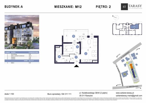 TARASY PIŁSUDSKIEGO M12 - mieszkanie 2 pokojowe Budynek A
