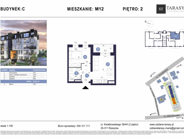TARASY PIŁSUDSKIEGO M12 - mieszkanie 2 pokojowe Budynek C