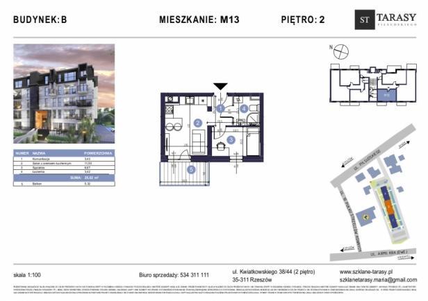 TARASY PIŁSUDSKIEGO M13 - mieszkanie 2 pokojowe Budynek B