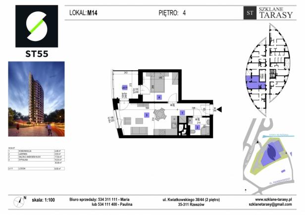 ST 55 - Armii Krajowej M14- mieszkanie 2 pokojowe ST 55