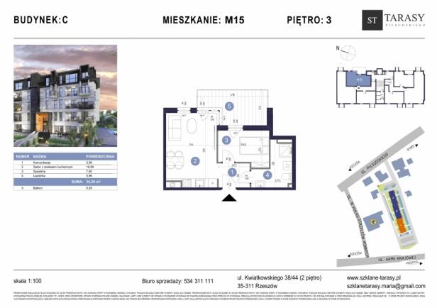TARASY PIŁSUDSKIEGO M15 -mieszkanie 2 pokojowe Budynek C