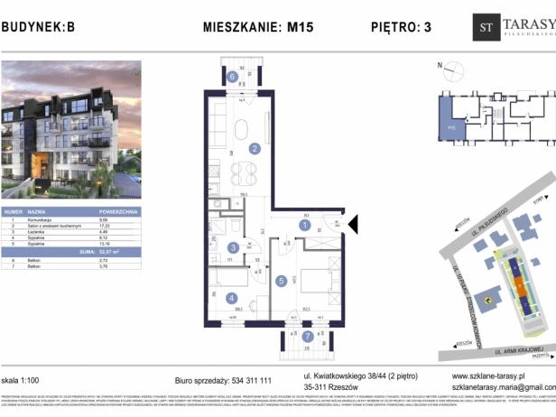 TARASY PIŁSUDSKIEGO M15 - mieszkanie 3 pokojowe Budynek B
