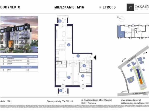 TARASY PIŁSUDSKIEGO M16 - mieszkanie 3 pokojowe Budynek C