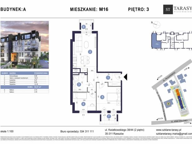 TARASY PIŁSUDSKIEGO M16 - mieszkanie 3 pokojowe Budynek A