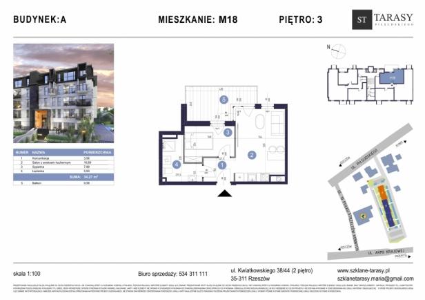 TARASY PIŁSUDSKIEGO M18 - mieszkanie 2 pokojowe Budynek A