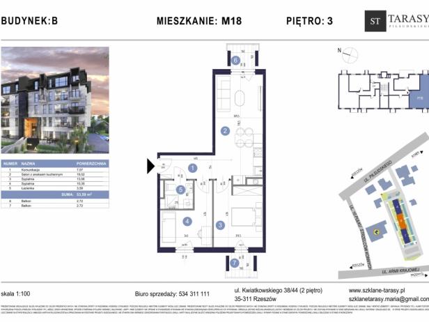 TARASY PIŁSUDSKIEGO M18 - mieszkanie 3 pokojowe Budynek B