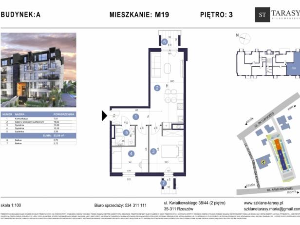 TARASY PIŁSUDSKIEGO M19 - mieszkanie 3 pokojowe Budynek A