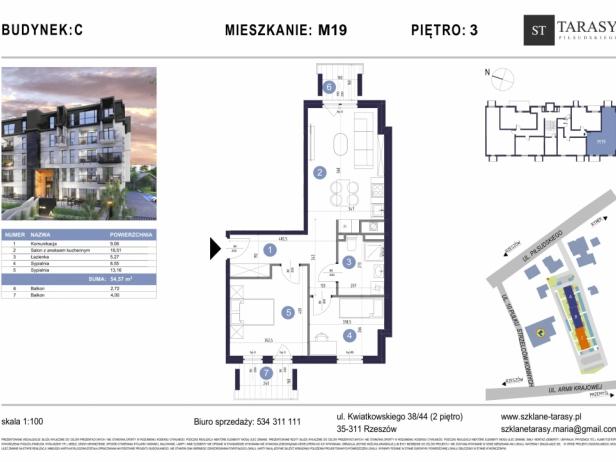 TARASY PIŁSUDSKIEGO M19 - mieszkanie 3 pokojowe Budynek C