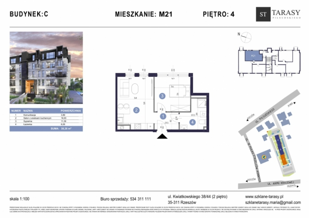 TARASY PIŁSUDSKIEGO M21 - mieszkanie 2 pokojowe Budynek C