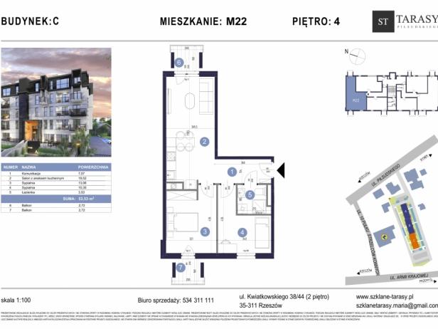 TARASY PIŁSUDSKIEGO M22 - mieszkanie 3 pokojowe Budynek C