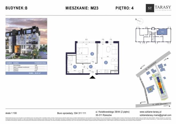 TARASY PIŁSUDSKIEGO M23 - mieszkanie 2 pokojowe Budynek B