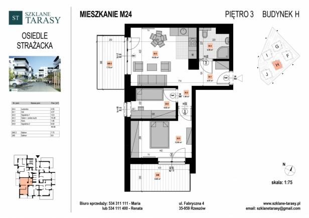 SZKLANE TARASY -Strażacka F-J M24 - mieszkanie 3 - pokojowe  STRAŻACKA bud. H