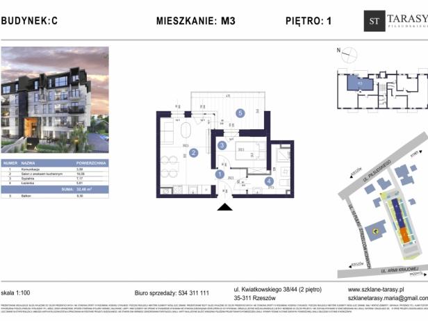 TARASY PIŁSUDSKIEGO M3 - mieszkanie 2 pokojowe Budynek C