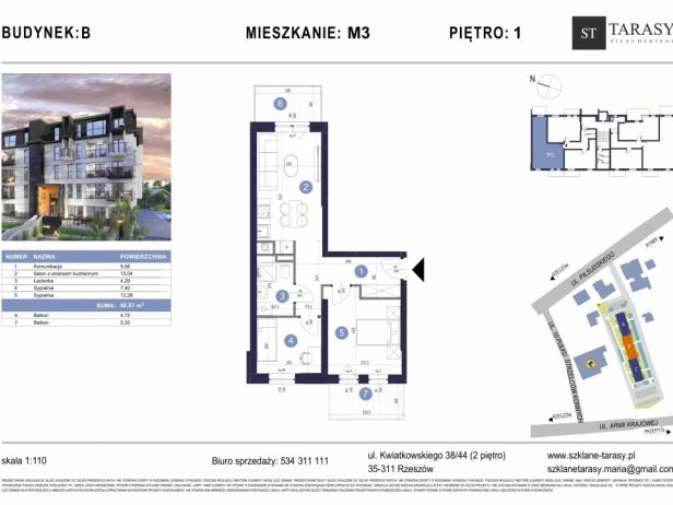 TARASY PIŁSUDSKIEGO M3 - mieszkanie 3 pokojowe Budynek B