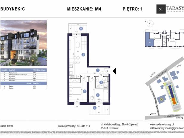 TARASY PIŁSUDSKIEGO M4 - mieszkanie 3 pokojowe Budynek C