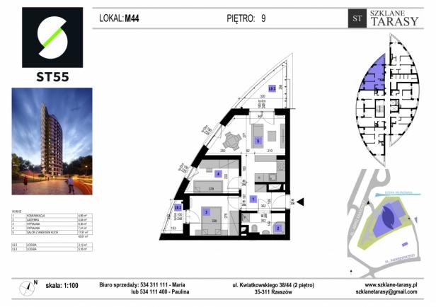 ST 55 - Armii Krajowej M44 - mieszkanie 3 pokojowe ST 55