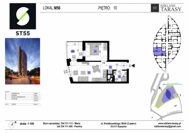 ST 55 - Armii Krajowej M56 - mieszkanie 2 pokojowe ST 55