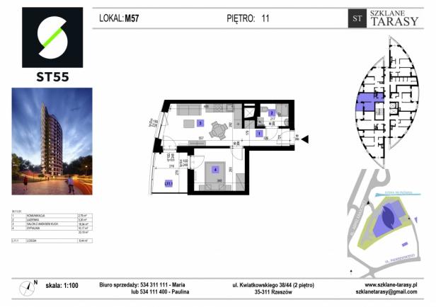 ST 55 - Armii Krajowej M57 - mieszkanie 2 pokojowe ST 55