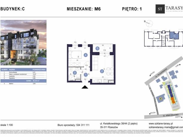 TARASY PIŁSUDSKIEGO M6 - mieszkanie 2 pokojowe Budynek C