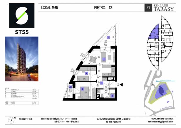 ST 55 - Armii Krajowej M65 - mieszkanie 3 pokojowe ST 55