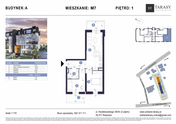 TARASY PIŁSUDSKIEGO M7 - mieszkanie 3 pokojowe Budynek A