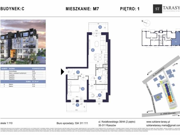 TARASY PIŁSUDSKIEGO M7 - mieszkanie 3 pokojowe Budynek C