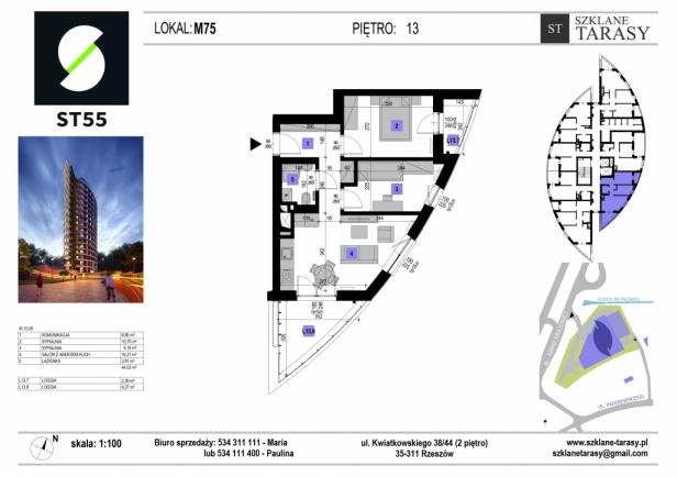 ST 55 - Armii Krajowej M75 - mieszkanie 3 pokojowe ST 55