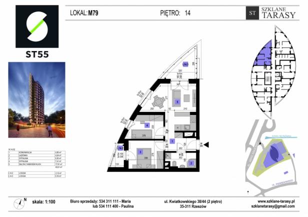 ST 55 - Armii Krajowej M79 - mieszkanie 3 pokojowe ST 55