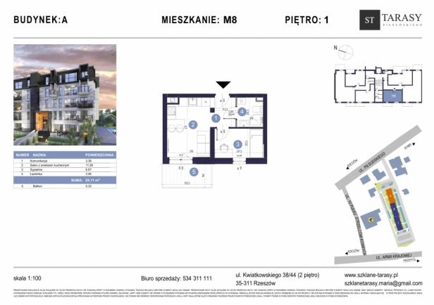 TARASY PIŁSUDSKIEGO M8 - mieszkanie 2 pokojowe Budynek A