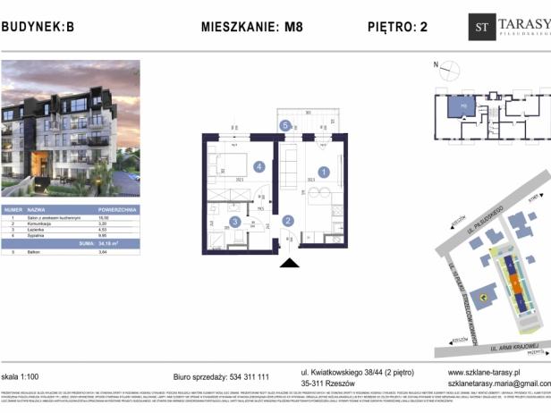 TARASY PIŁSUDSKIEGO M8 - mieszkanie 2 pokojowe Budynek B