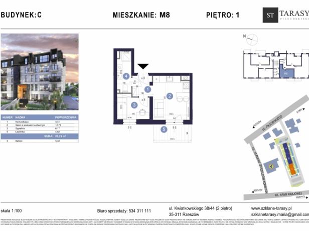 TARASY PIŁSUDSKIEGO M8 - mieszkanie 2 pokojowe Budynek C