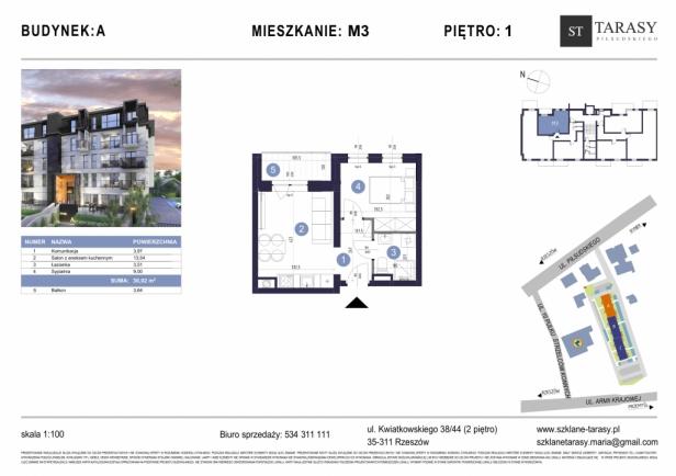 TARASY PIŁSUDSKIEGO M3 - mieszkanie 2 pokojowe Budynek A