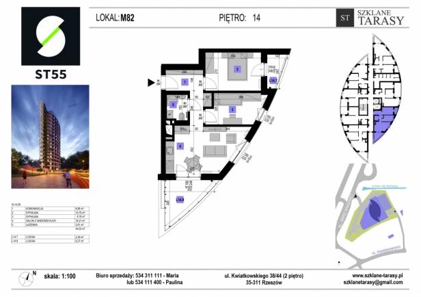 ST 55 - Armii Krajowej M82 - mieszkanie 3 pokojowe ST 55