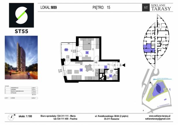 ST 55 - Armii Krajowej M89 - mieszkanie 2 pokojowe ST 55