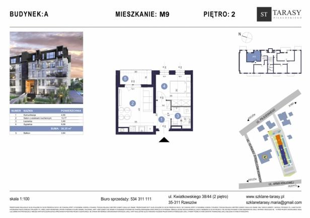 TARASY PIŁSUDSKIEGO M9 - mieszkanie 2 pokojowe Budynek A