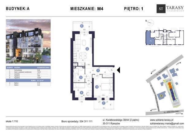 TARASY PIŁSUDSKIEGO M4 - mieszkanie 3 pokojowe Budynek A