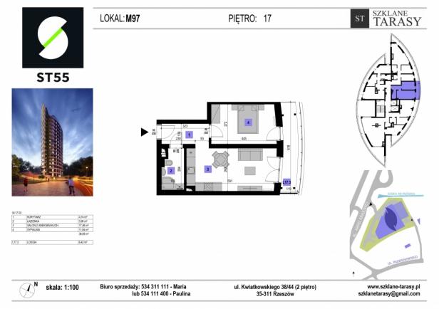 ST 55 - Armii Krajowej M97 - mieszkanie 2 pokojowe ST 55