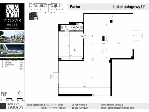 ZIG ZAK HOUSE - Nowoczesne mieszkania w Rzeszowie U1 - lokal usługowy  ZIG ZAK HOUSE